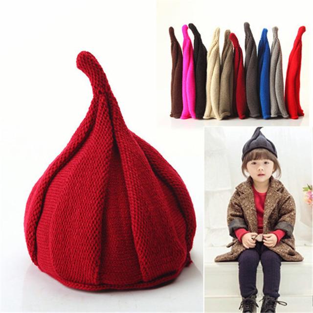Конфеты Цвет Ребенка зимой вязаная шапка Осень Зима Теплая Подчеркнуто Hat Мальчики девочки Теплую шапку Дети мельница cap
