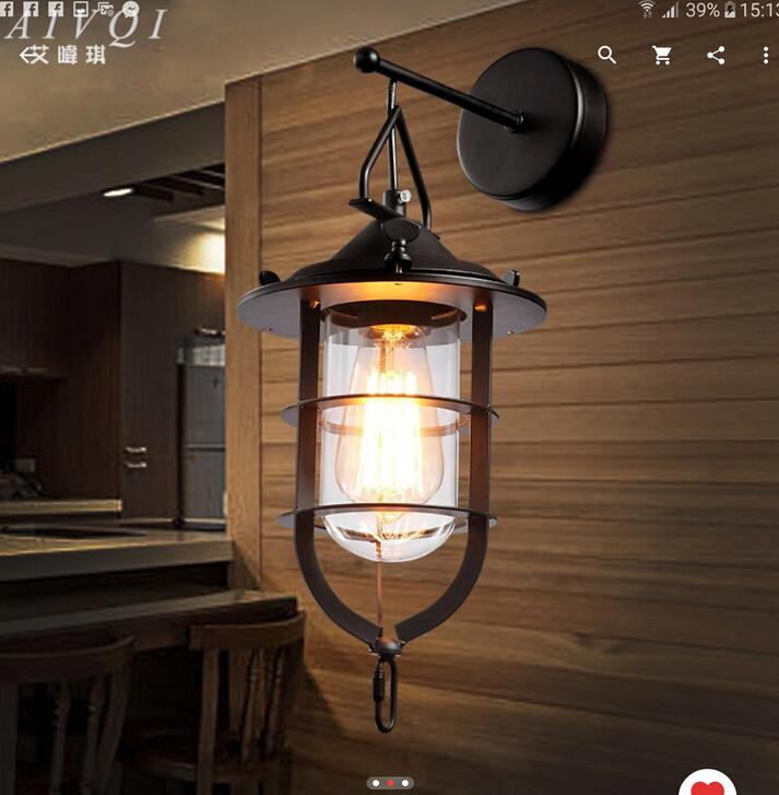 Loft Style Glass Wall Lamp Vintage Cafe Wall Light Bar Decoration Wall Lights Free Shipping<br><br>Aliexpress