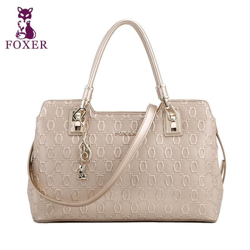 FOXER brand genuine leather women bag fashion quality women handbags shoulder classic embossed chain pattern cowhide bag<br><br>Aliexpress