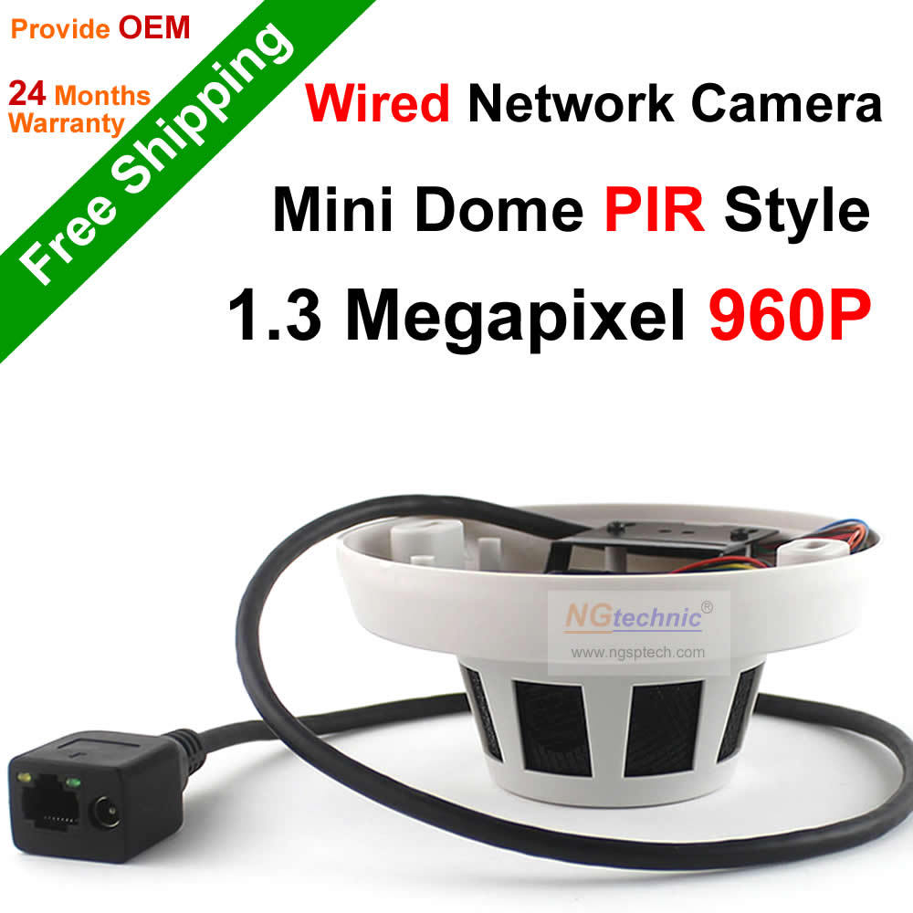 PIR Style Mini Dome HD IP Camera Onvif P2P H.264 wired 960P IP Camera 1.3MP security network Support Iphone Android App<br><br>Aliexpress