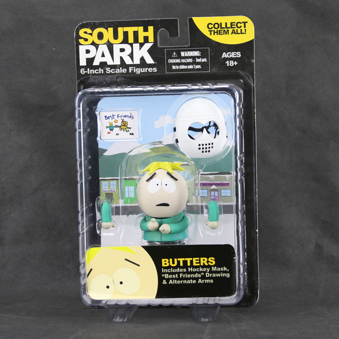 New South Park Leopold Butters Stotch Hockey Mask Best Friend Drawing Alternate Arms Mezco Action Figure(China (Mainland))