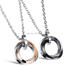 Fashion His & Her Stainless Steel Couple Necklace CZ Round Necklace Pendant women men one pair(China (Mainland))