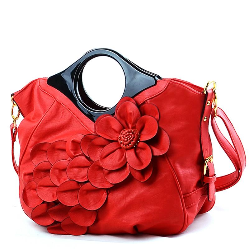 new style Fashion Quality Women Handbags pu Leather flower ladies shoulder bags girl hobos bag Famous Brand Female Bridal bag(China (Mainland))