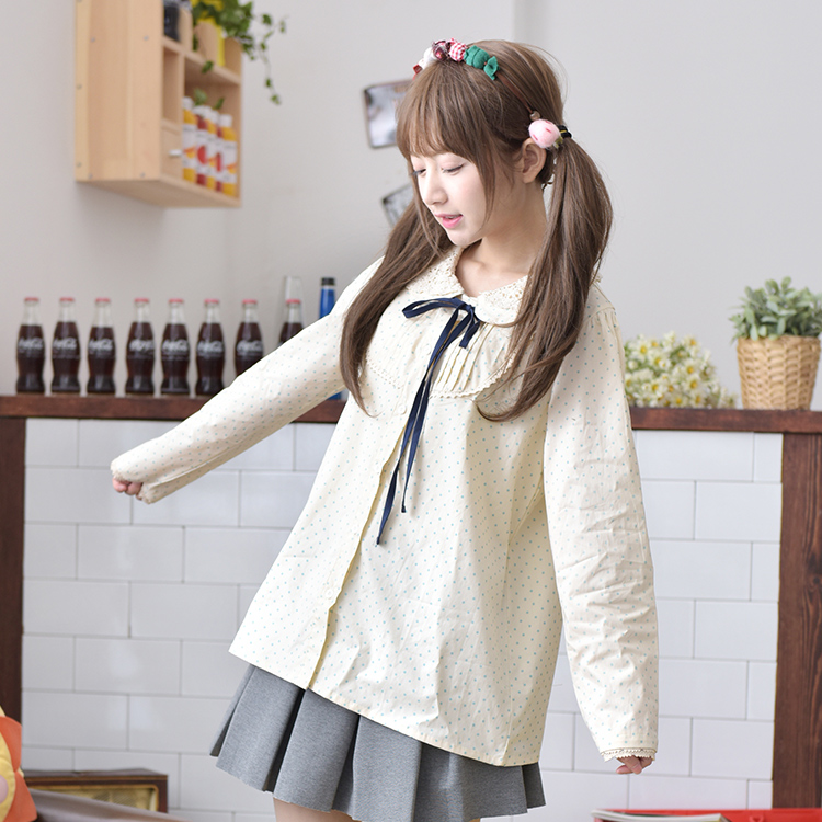 Princess sweet lolita shirt new spring dress female doll collar Sen wave lace bow long sleeved shirt woman CS4256(China (Mainland))