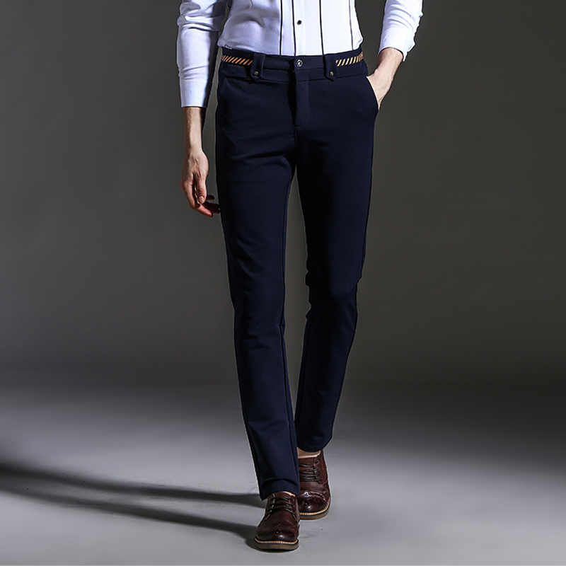 2017 New Spring Autumn Fashion slim fit Men Casual Pants Straight Dress Men Elastic Business Suit Trousers skinny Pants For Man(China (Mainland))