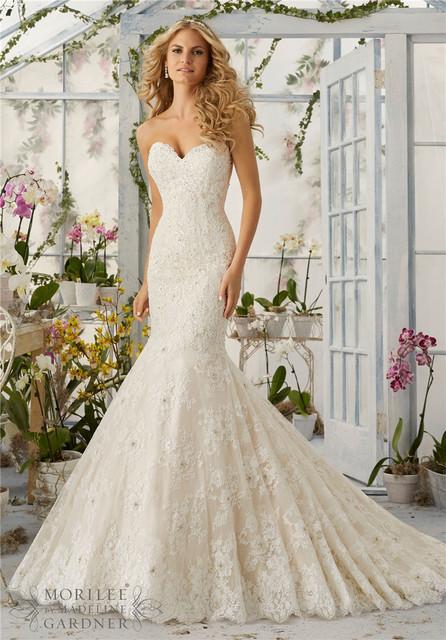 На заказ сексуальная русалка свадебные платья 2016 милая аппликациями последние свадебные ...