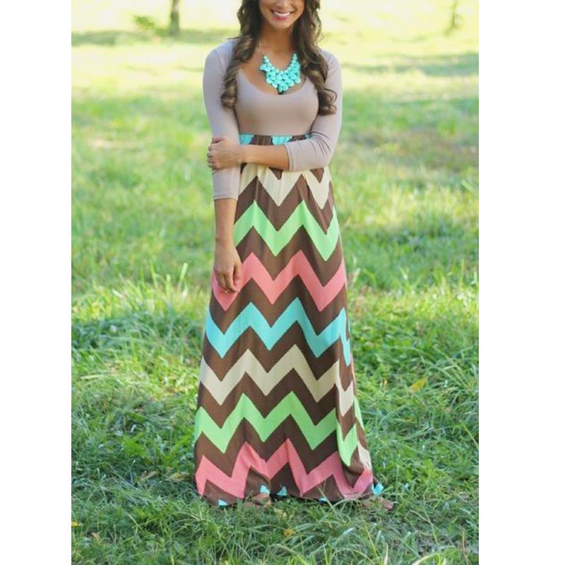 new Summer style dress 2015 party half sleeve striped long maxi Floor Chevron feminine dresses Bohemian Plus Size women clothing(China (Mainland))