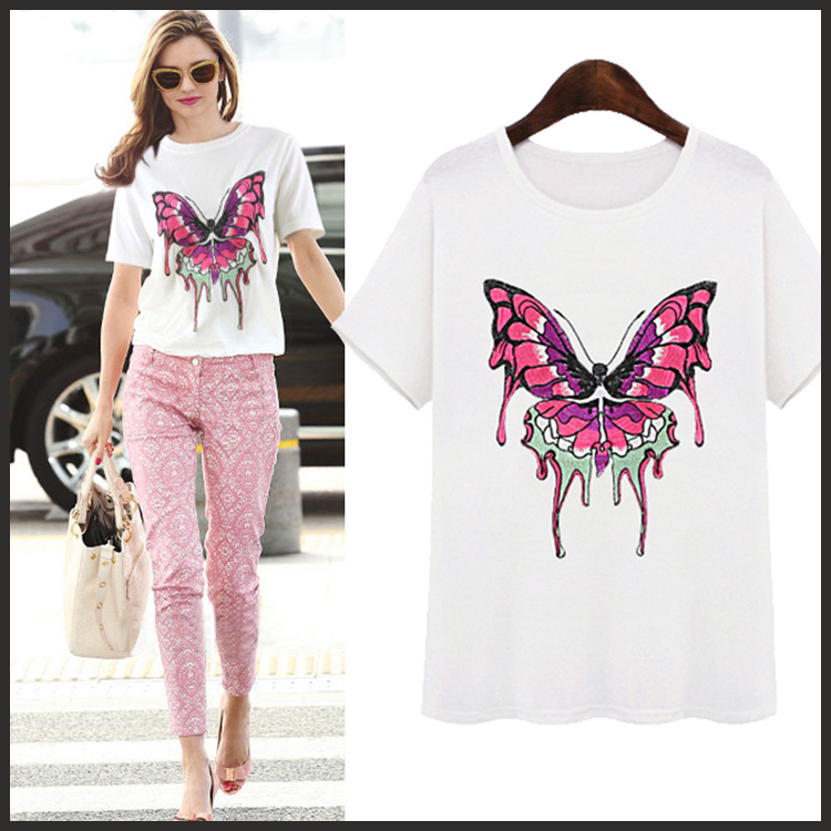 Hot sale 2015 Fashion Good Quality Cotton T Shirt Women Butterfly Tops O-Neck T-shirts tee shirts for women white(China (Mainland))