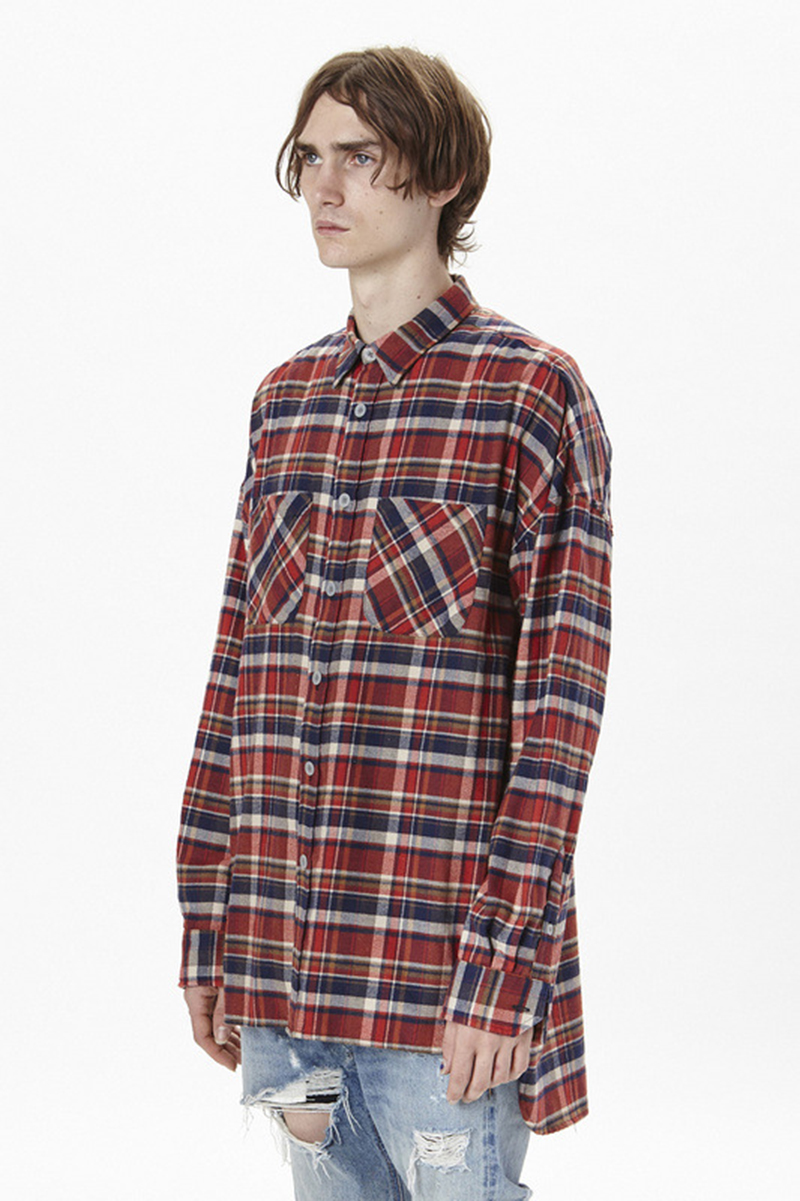 2016 top quality Fear Of God men red grid casual shirts hiphop Justin Bieber font b