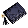 Trendy Patent Leather Ultra thin Wallet Fashion New Tri fold Coin Purse Women Designer Rhombic Plaid