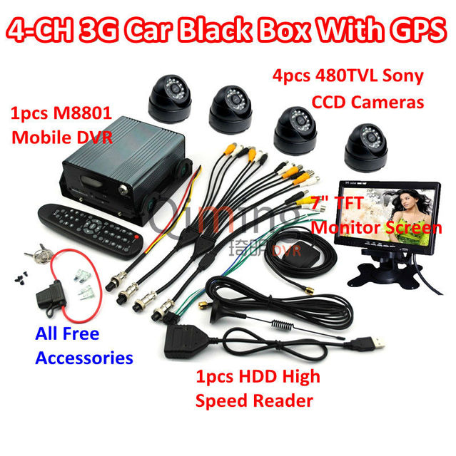 3G GPS Car Black Box 4pcs Cameras 1pcs Monitor Screen 1pcs HDD Reader, All Car Black Box Kit Need are Included