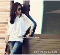 2015 Spring Long Sleeve Lace Crew Neck Dolman Batwing Tee Shirt Casual Loose Women T-Shirt Top Black White Free Shipping 0662