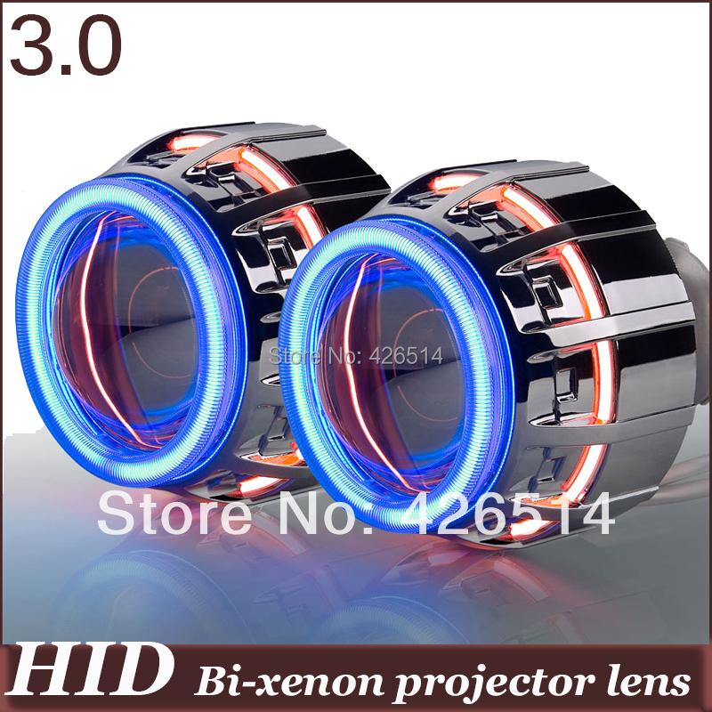 General installation! 3'' inch  HID Bi-xenon  Projector Lens double 4mm CCFL Double Angel Eye+ Devil Eye +two AC ballast