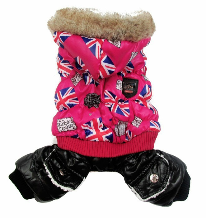 Free shipping!Red/Brown Winter dog Coat UK Flakes design,pet puppy Jacket clothes,4 sizes availbale(China (Mainland))