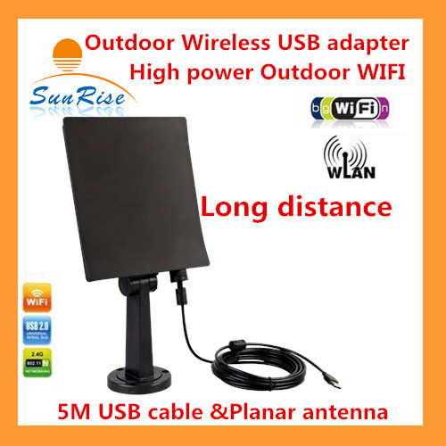 NEW Black color 150Mbps 3000MW outdoor wireless usb adapter with 5M High power wireless outdoor wifi Antenna adapter 13dbi(China (Mainland))