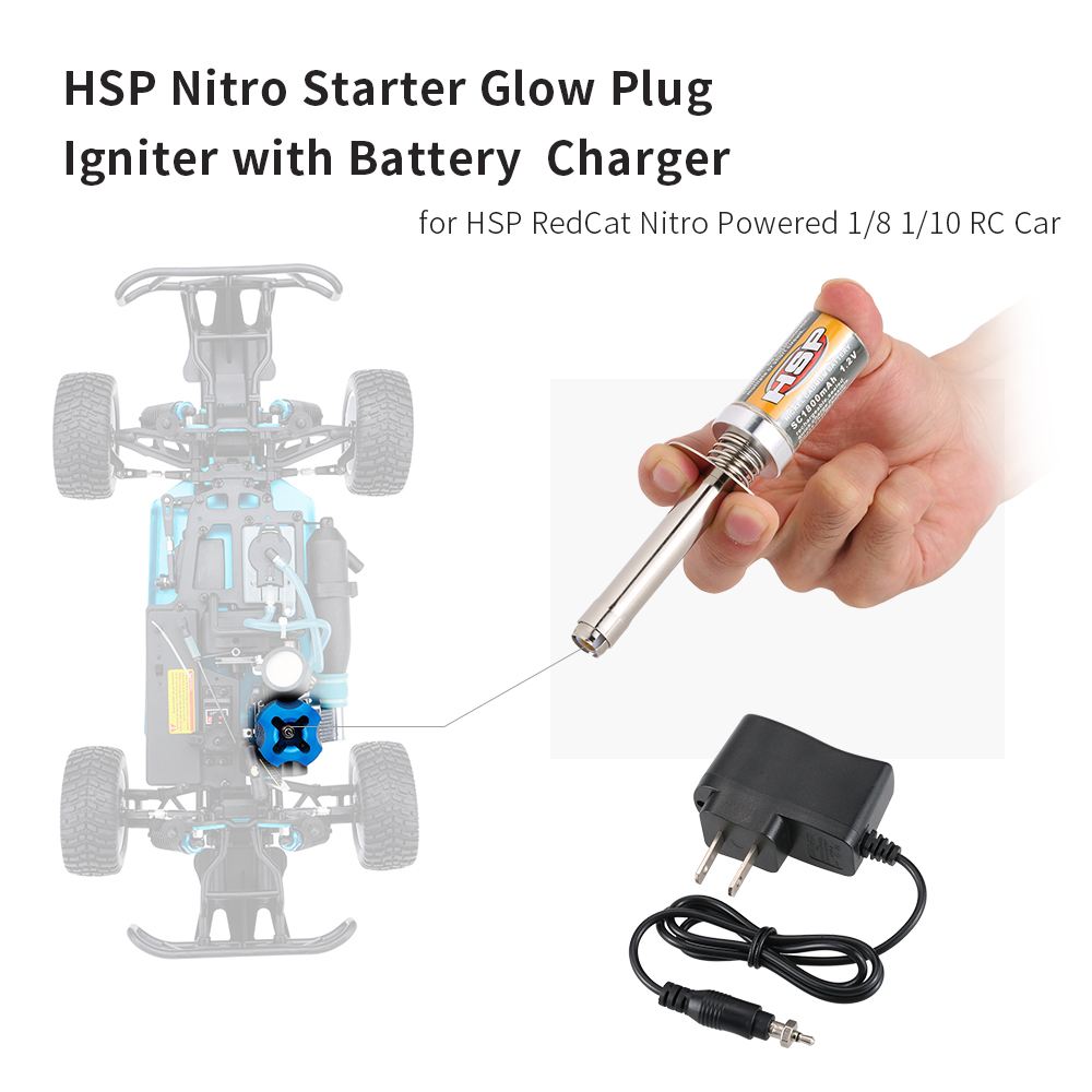 Nitro Starter Kit Glow Plug Igniter with Battery Charger for HSP RedCat Nitro Powered 1/8 1/10 RC Car(China (Mainland))
