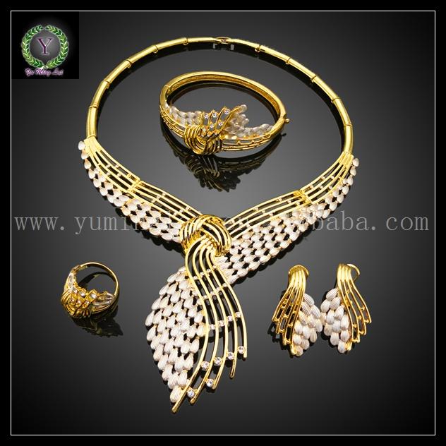 Dubai Gold Jewelry Set / Wedding Jewelry Designs,arabic wedding jewelry sets,italian gold jewelry sets(China (Mainland))