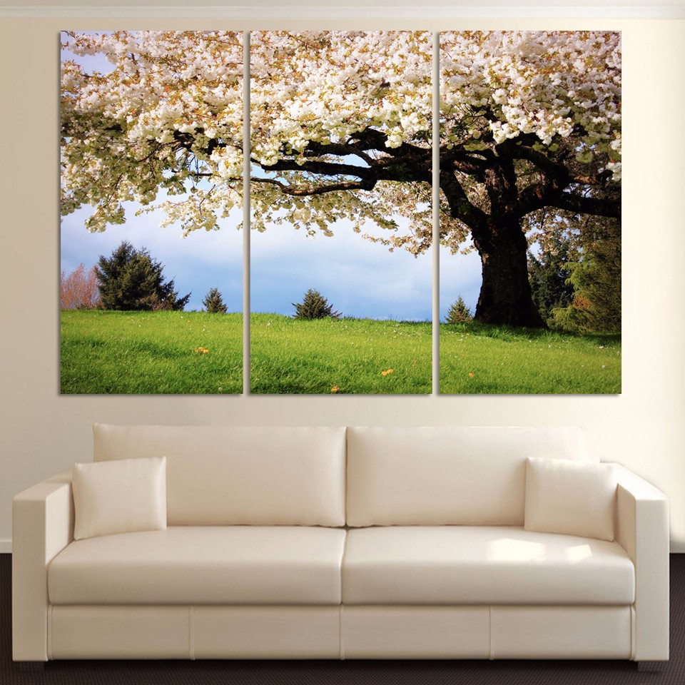 Luxry 3 piece art oil canvas romantic wall art tree for Cadre floral mural