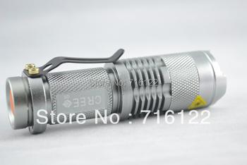 Silver 7W 300lm Lumen CREE Q5 Focus 3 mode Adjust Zoom LED mini Flashlight torch Free shipping