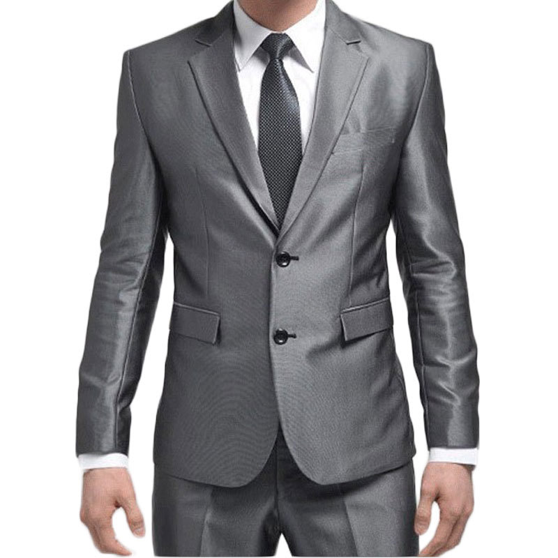 (Jacket +Pants+Tie) 2015 New Men Suit Fashion Sliver Mens Slim Two Buttons Business Suits With Pants Brand Wedding Suits For MenОдежда и ак�е��уары<br><br><br>Aliexpress