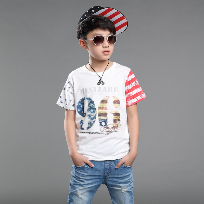 2016 Summer Boys Clothing T-shirts Spell Color Short-sleeve Printed T Shirt for Kids Cotton Childrens Shirts Tops Tees 3-13T(China (Mainland))