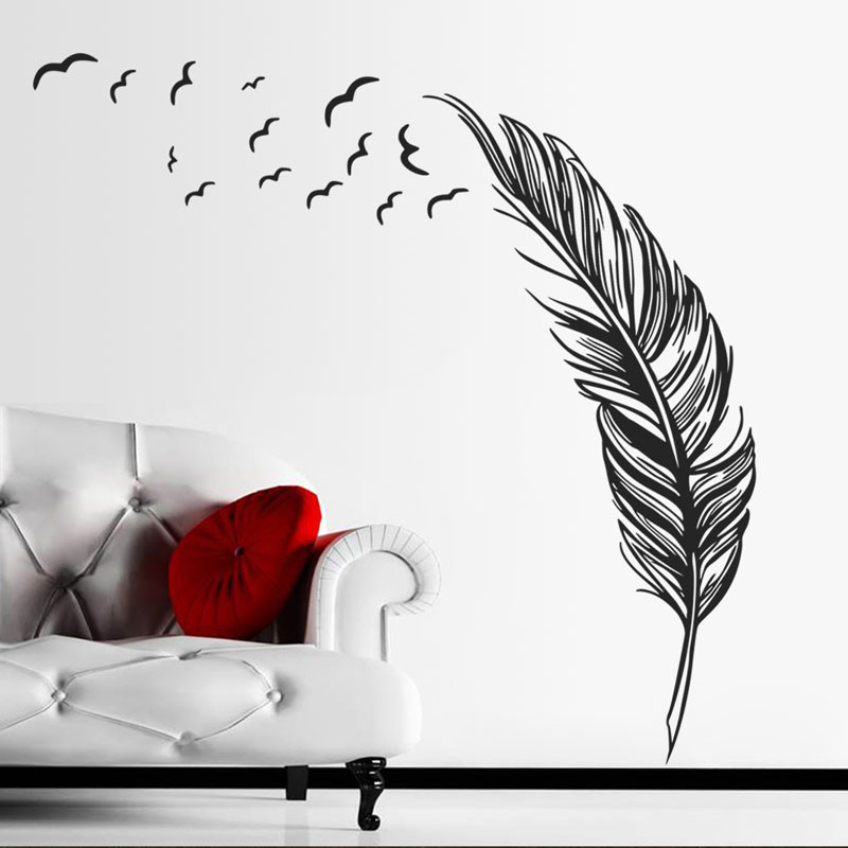 Happy Fashion Beauty New Design Decorative Wall Stickers Three Colors Birds Feather Bedroom Home Decal Mural Art Decor(China (Mainland))