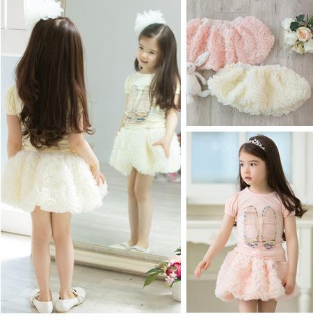 New 2015 summer baby girls children's skirts Beautiful Rose tutu skirt for girls petti skirt 2 Color Free Shipping(China (Mainland))