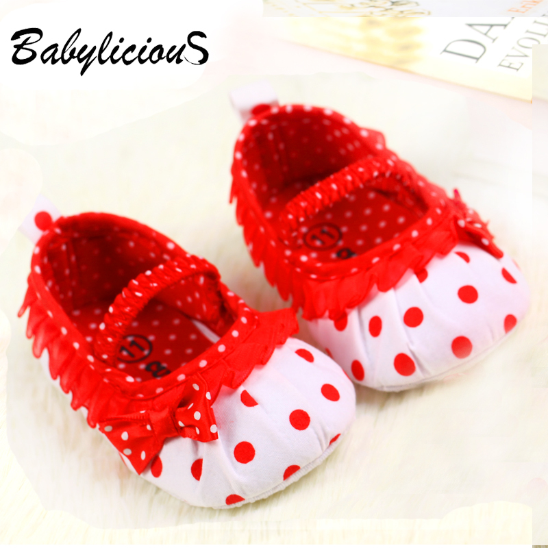 Cute Polka Dot Baby Girls Lace shoes Soft Anti-Slip Infant Bebe Shoes First Walkers(China (Mainland))
