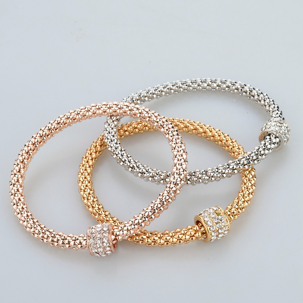 LongWay 2017 Wedding Gold Color Bracelets & Bangles Bracelet for Women Metal Chain Bracelet Fashion Jewelry 3pcs/lot SBR140324