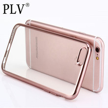 Luxury Ultra Thin Clear Crystal Rubber Plating Electroplating TPU Soft Mobile Phone Case For iPhone 6 6s Plus Cover bag(China (Mainland))