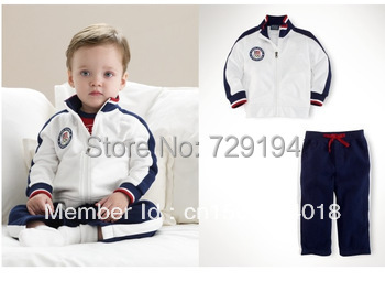 2015/ spring autumn outfit/boy/cotton/ hot /Clothes + pants/children/WHITE free shipping drop shipping