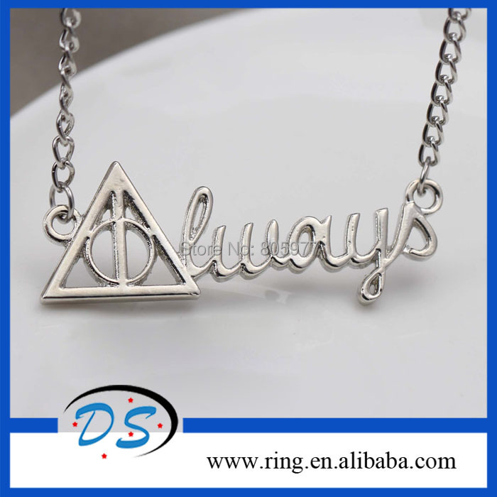 Wholesale Harry Potter Always Deathly Hallows Pendant Necklace Movie Jewelry 12pcs/lot Free Shipping