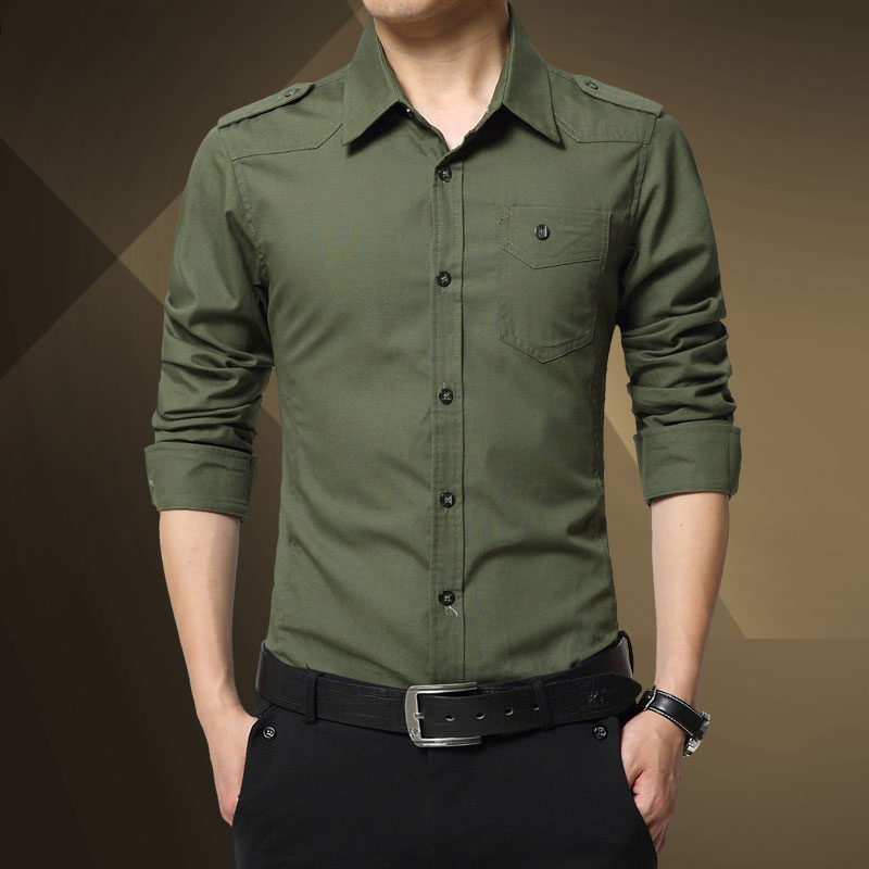 M - 4XL 2016 Spring military quality men's casual brand army green shirts man autumn 100% cotton khaki black long shirt(China (Mainland))
