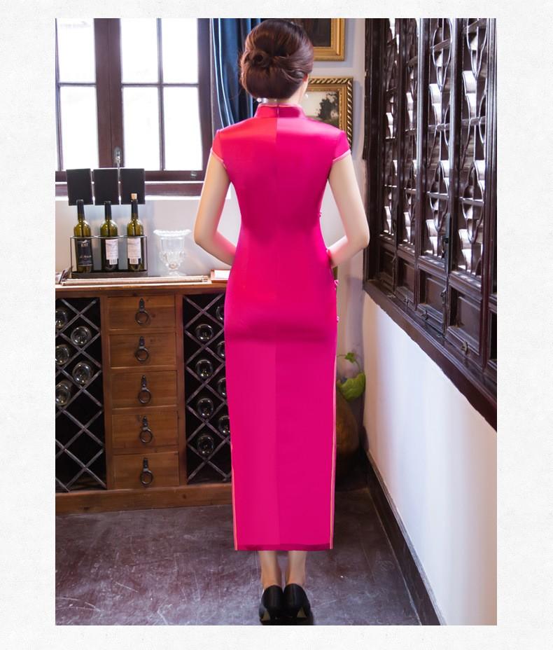 ร้อนสีชมพูสตรีผ้าไหมCheongsamจีนแฟชั่นสไตล์การแต่งกายที่สวยงามบางยาวพิมพ์QipaoขนาดSml XL XXL XXXL F090906 ถูก