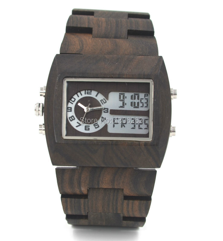 Mens luxury wood watch led show analog digital wood watch men top selling bewell analog digital wood watch in 4 color(China (Mainland))