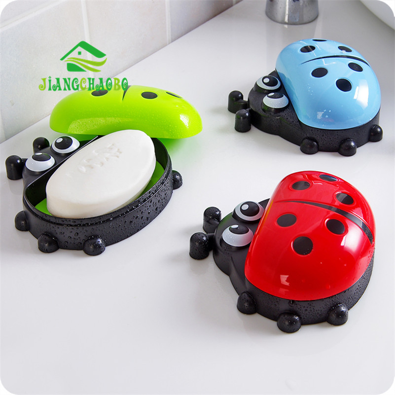 Creative Cartoon Soap Box Ladybug Soap Box With Cover Dust Proof Toilet Bathroom Plastic Drain Water Soap Box Soap Holder(China (Mainland))