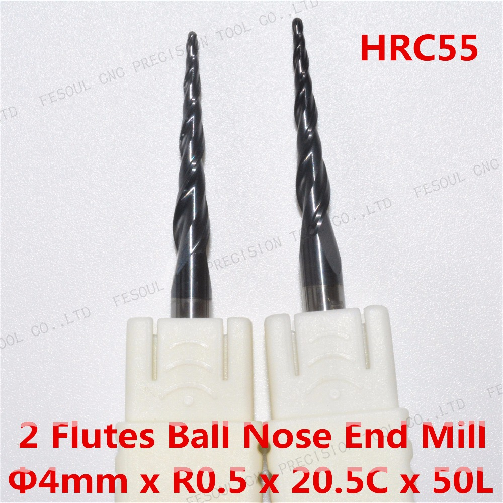 Free shipping-2PCS,R0.5*D4*20.5*50L,HRC55 Tungsten solid carbide TiALN Coated Taper Ball Nose End Mills,taper and cone Bit,wood(China (Mainland))