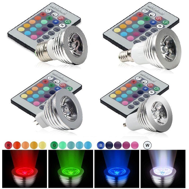 6W E27 RGB LED Bulb Lampada 85V-265V 110V 220V 16 Colors Dimmable MR16 GU5.3 E14 Led Lamp Light Spotlight 12V +Remote Controller(China (Mainland))