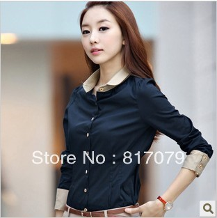 2013 women's summer  Ladies bowtie OL shirt slim casual elegant long-sleeve basic shirt Tops blouse 3 Colours New free shipping