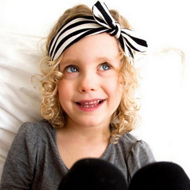 Детские кроличьи уши повязка на голову Bowknots полоса печать ребенок головные уборы ...