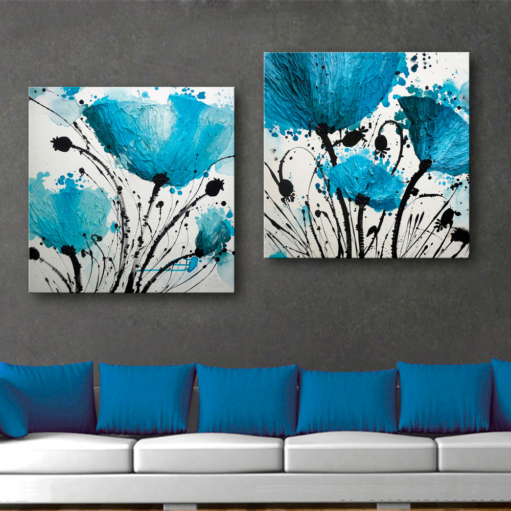 Free Shipping E-HOME Oil Painting Blue Flower Decoration Painting Set of 2 Home Decor On Canvas Modern Wall Prints(China (Mainland))