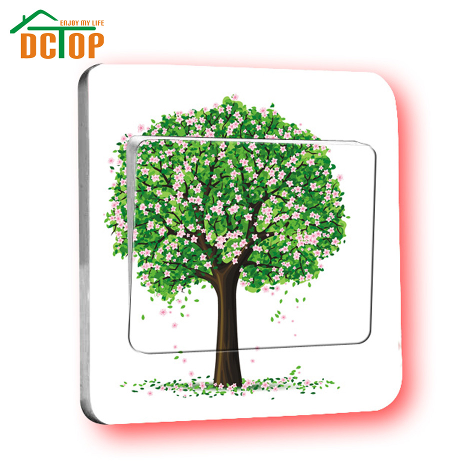 DCTOP High Quality Colorful Tree Cartoon Switch Stickers Home Decoration Bed Room Living Room Switch Wall Stickers(China (Mainland))