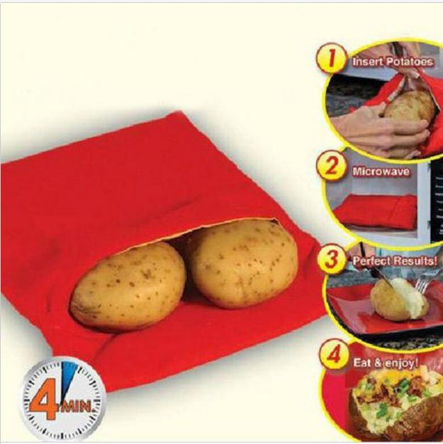Red Washable Cooker Bag Baked Potato Microwave Cooking Potato Quick Fast (cooks 4 potatoes at once) Hot 2016(China (Mainland))