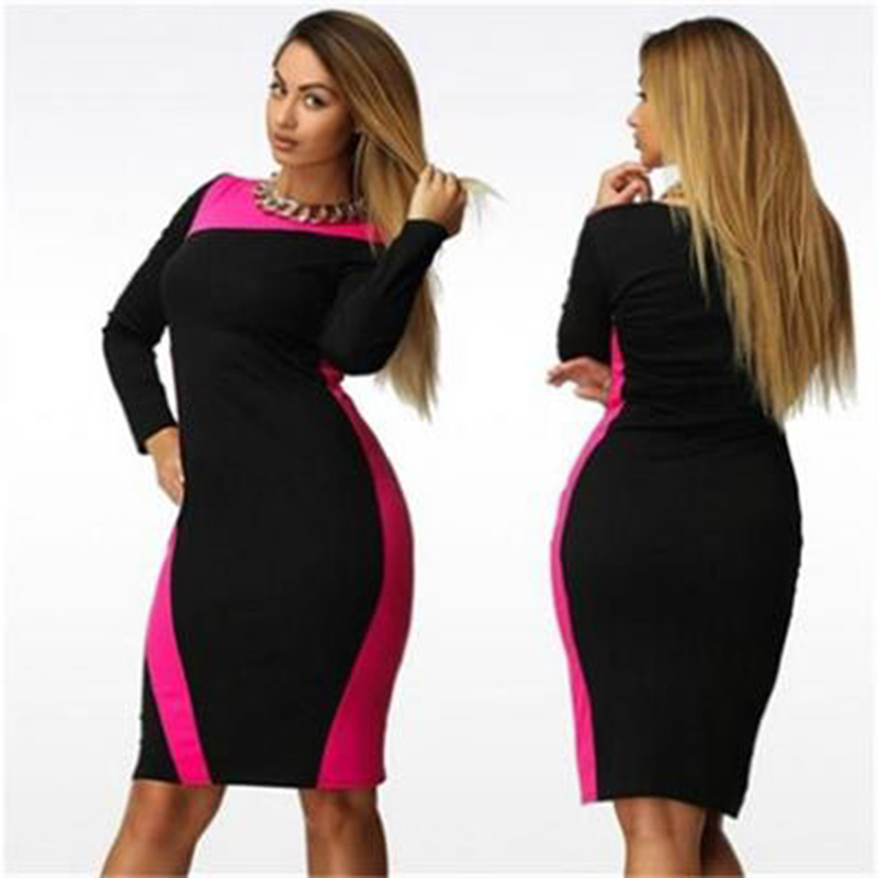 big sizes women casual dress 3xl 4xl 5xl 6xl o-neck Long sleeve fashionable elegant dresses plus size 2015 Autumn winter dress
