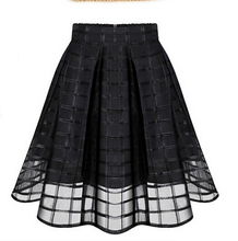 Hot Women Chiffon font b Skirt b font Pleated Adult tutu plaid tulle font b skirt