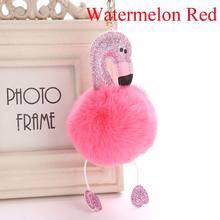 Flamingo 1 Pc Pompom Fofo Dos Desenhos Animados de Pelúcia Keychain Bolsa Chaveiro Das Mulheres Chave Do Carro Fivela Chave Cadeias de Jóias Artificial da Pele Do Falso(China)