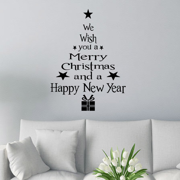 M-12 Fashion Heaven Christmas Tree Letters Sticker Wall Art Decal Mural Home Room Decor Wall Sticker Free Shipping(China (Mainland))
