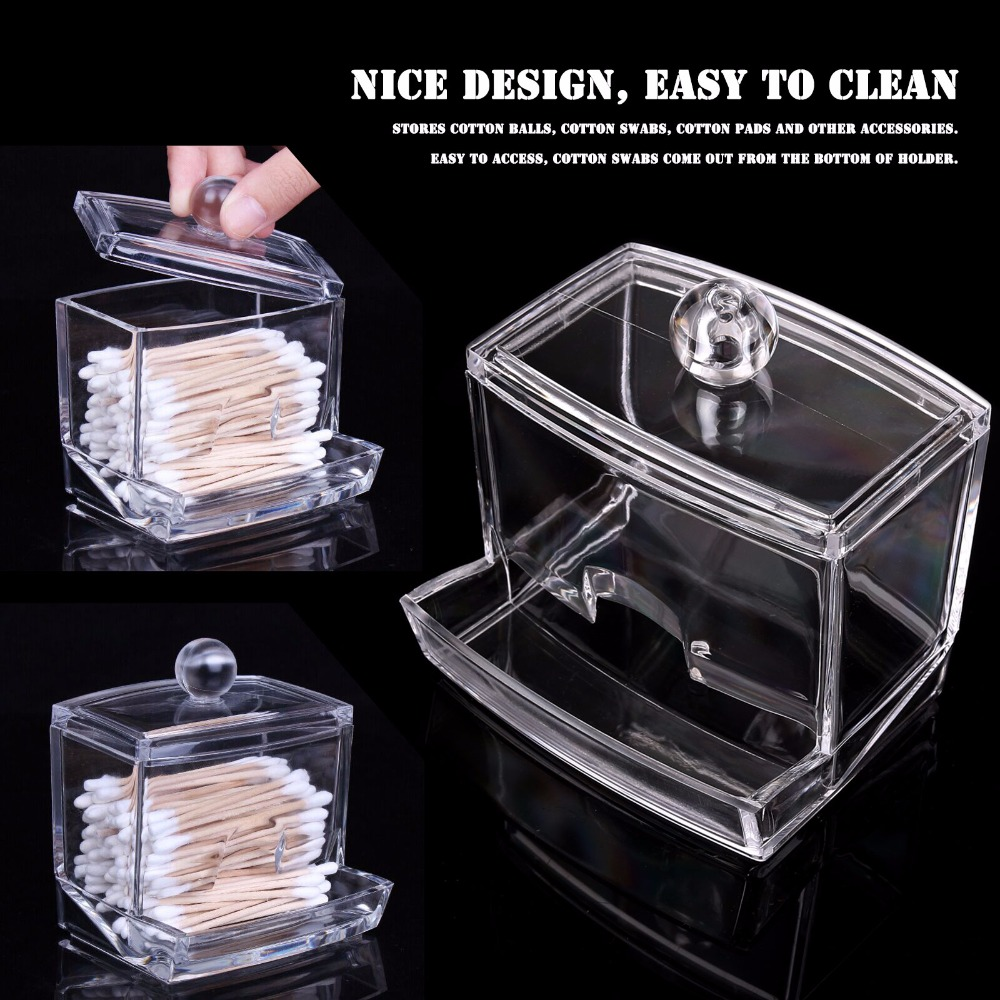 New Creative Clear Acrylic Q-Tip Storage Holder Box Transparent Cotton Swabs Stick Cosmetic Makeup Organizer Case High Quality(China (Mainland))