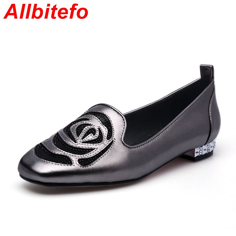 Hot sale Square Toe genuine leather Appliques fashion women flats rinestone platofrm party shoes High quality ballet flats<br><br>Aliexpress