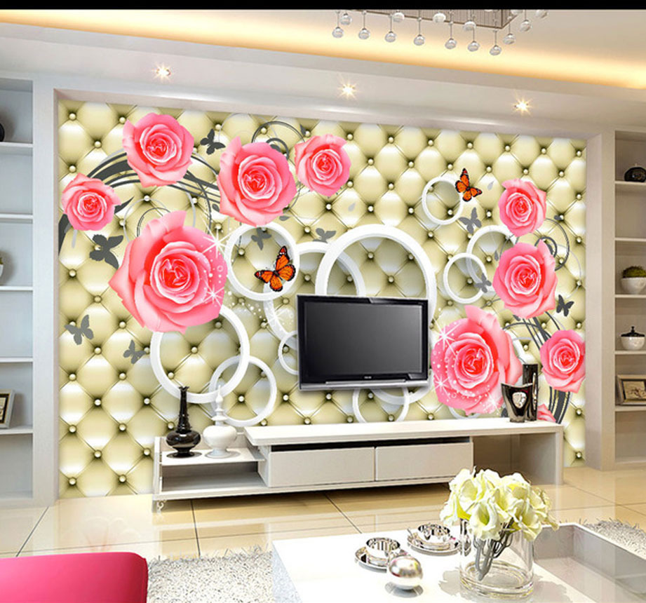 Fashion with House Restaurant living room 3D pink roses romantic fashion soft bag backdrop simple free delivery(China (Mainland))